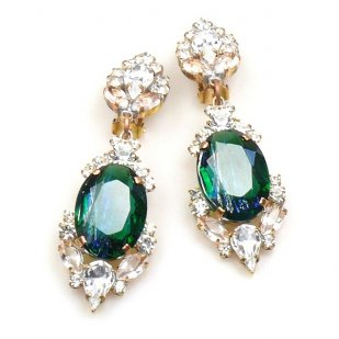 Mythique Clips-on Earrings ~ Crystal Silver Emerald