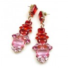 Xanthe Earrings Pierced ~ Fuchsia Red