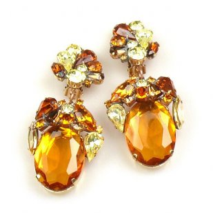 Fiore Clips Earrings ~ Topaz Ovals with Yellow