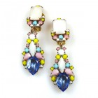 Miracle Clips-on Earrings ~ Pastel Colors Silver Sapphire