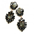 Aztec Sun Earrings Pierced ~ Black with Smoke Crystal