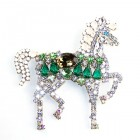Liberty Horse Brooch ~ White with Green