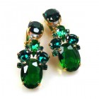 Dramatic Earrings Clips ~ Emerald