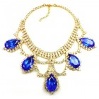 Majesty Necklace ~ Clear Crystal Blue ~ Gold Plated