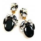 Fiore Clips Earrings ~ Black Ovals