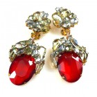 Fiore Clips Earrings ~ Smoke with Ruby Red Ovals