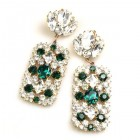 Zara Pierced Earrings ~ Clear Crystal with Emerald