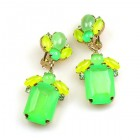 Gallery Earrings with Clips ~ Neon Green