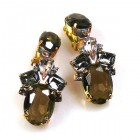 Dramatic Earrings Clips ~ Smoke Crystal