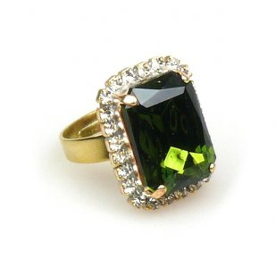 Zenith Ring ~ Clear Crystal with Olive
