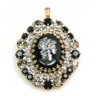 Cameo Pendant Oval ~ Smoke Crystal Black