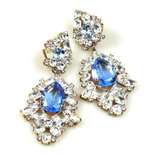 Beaute Earrings with Clips ~ Crystal with Sapphire