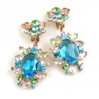 Sweet Temptation Earrings Clips ~ Aqua with Pastel Colors