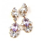 Crystal Gate Pierced Earrings ~ Crystal Silver Violet
