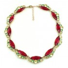 Navette Necklace ~ Fuchsia Yellow Green