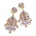 Enchanted Rhinestone Earrings Clips ~ Violet