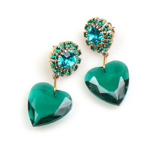 Hearts ~ Emerald Dangling Valentine Earrings for Pierced Ears