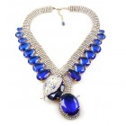 Extra Big Paradise Lost Necklace ~ Crystal with Blue
