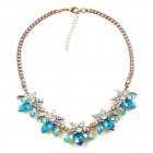 Breeze Necklace ~ Clear Crystal with Aqua