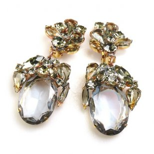 Fiore Clips Earrings ~ Smoke Crystal Ovals