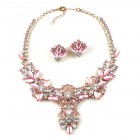 Charmeur Set Necklace with Earings ~ Crystal Opaque Pink