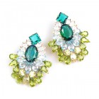 Elegancy Earrings for Pierced Ears ~ Emerald Olive Clear