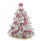 Xmas Tree Brooch #10 ~ Clear Pink