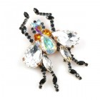 Large Fly Brooch with Clear Crystal