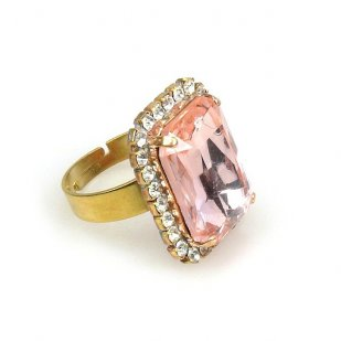 Zenith Ring ~ Clear Crystal with Pink