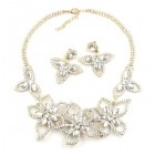 Lotus Flower Necklace Set ~ Clear Crystal