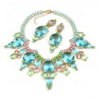 Taj Mahal Necklace Set with Earrings ~ Aqua Multicolor