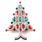 Brooch Tree 10 cm ~ Clear Emerald Red
