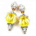 Taj Mahal Earrings Clips ~ Clear with Silver Yellow