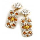 Zara Clips-on Earrings ~ Clear Crystal with Topaz