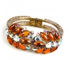 Spike Clamper Bracelet ~ Topaz with AB