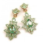 Emotion Lace Earrings Clips ~ Peridot Green