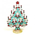 Rivoli Xmas Stand-up Tree 13cm ~ Clear Emerald Red