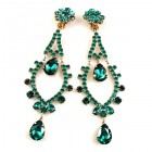 Extra Long Dangling Earrings Clips-on ~ Emerald Green