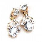 Anna Marie Earrings Clips ~ Clear Crystal