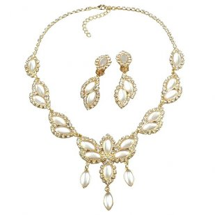 Princess Necklace Set ~ White ~ Gold Plated