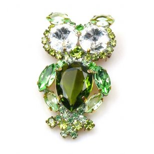 Owl Pin Medium ~ Green