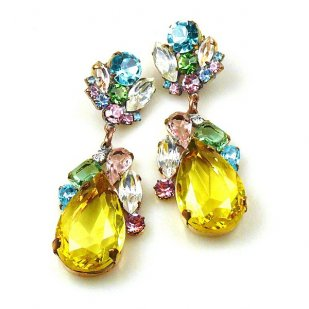 Fountain Earrings for Pierced Ears ~ Pastel Tones with Yellow