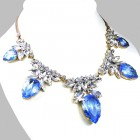 Camilla Necklace ~ Clear Crystal with Silver Sapphire