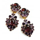 Aztec Sun Earrings Clips ~ Purple