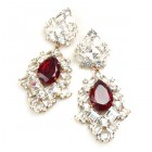 Beaute Earrings Pierced ~ Crystal with Silver Ruby