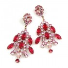 Enchanted Rhinestone Earrings Pierced ~ Hot Pink Fuchsia
