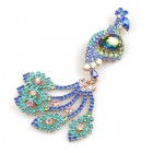 Peacock Brooch with Dangling Tail ~ Aqua Vitrail