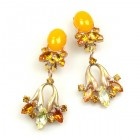 Tulip Earrings Clips ~ Opaque Orange with Topaz