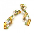 Ffion Earrings Clips-on ~ Topaz Green and Clear Crystal