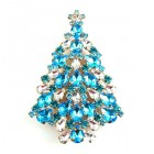 Xmas Tree Brooch #16 ~ Aqua Clear Crystal
